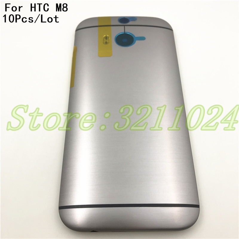 10Pcs/Lot Metal <font><b>Battery</b></font> Back Cover For <font><b>HTC</b></font> One <font><b>M8</b></font> Back Housing <font><b>Case</b></font> with Volume Power Button Camera Lens 831C image