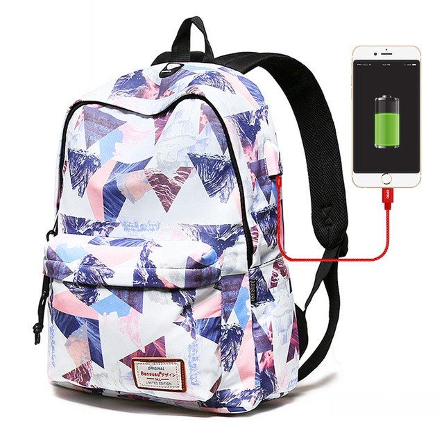 US $21 89 52% OFF|Women Travel Bag USB charging laptop backpack teenage  girl school backpack bag Fashion Printing Female college students  Backpack-in