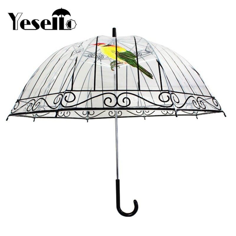 Yesello 1 шт. Пластик Ева прозрачный Зонты Симпатичные Bird Cage зонтик с длинным-ручка дождливый ясно зонт для Для женщин
