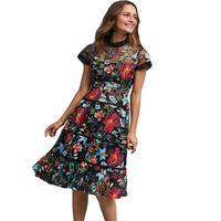 Flower Embroidery Lace Dress Women 2018 Spring Summer Dress Runway Robe De Soiree Longue Short Sleeve
