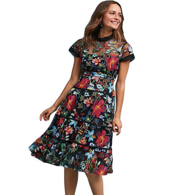 Vestidos Verano Embroidery Lace Dress Women 2018 Spring Summer Dress Robe De Soiree Longue Short Sleeve Casual Party Dresses