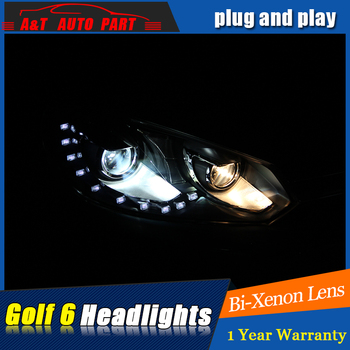 2009-2013 for vw golf GTI headlights car styling For vw golf 6 GTI DRL LED tear eyes bi xenon lens led parking lights