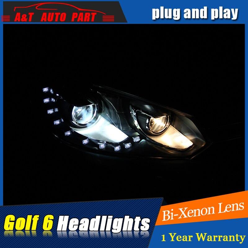 AUTO.PRO 2009-2013 for vw golf GTI headlights car styling For vw golf 6 GTI DRL LED tear eyes bi xenon lens led parking lights