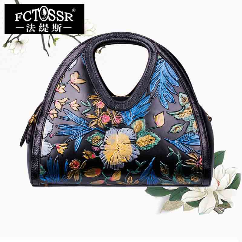 Hand Painted Leather Bags Women Handbags Vintage Genuine Leather Messenger Bags Ladies Handmade Shoulder Bags