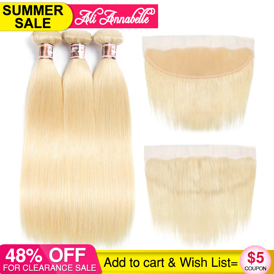 Ali Annabelle Hair Brazilian Straight 3 Bundles With 13 4 Lace Frontal Closure 100 Human Hair