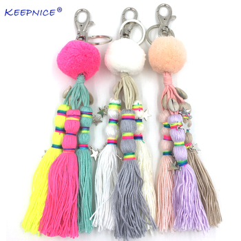 Bohemia Car Key Chains Lanyards Key Ring Key Finders Beads Tassel Pompous tassels Pendants Bag Rings KeyChains for woman summer