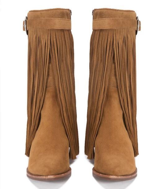 Pelle opaca vintage sfregamento lungo nappa stivali fibbia lungo nappa stivaletti marrone in pelle nera in magazzino - 5