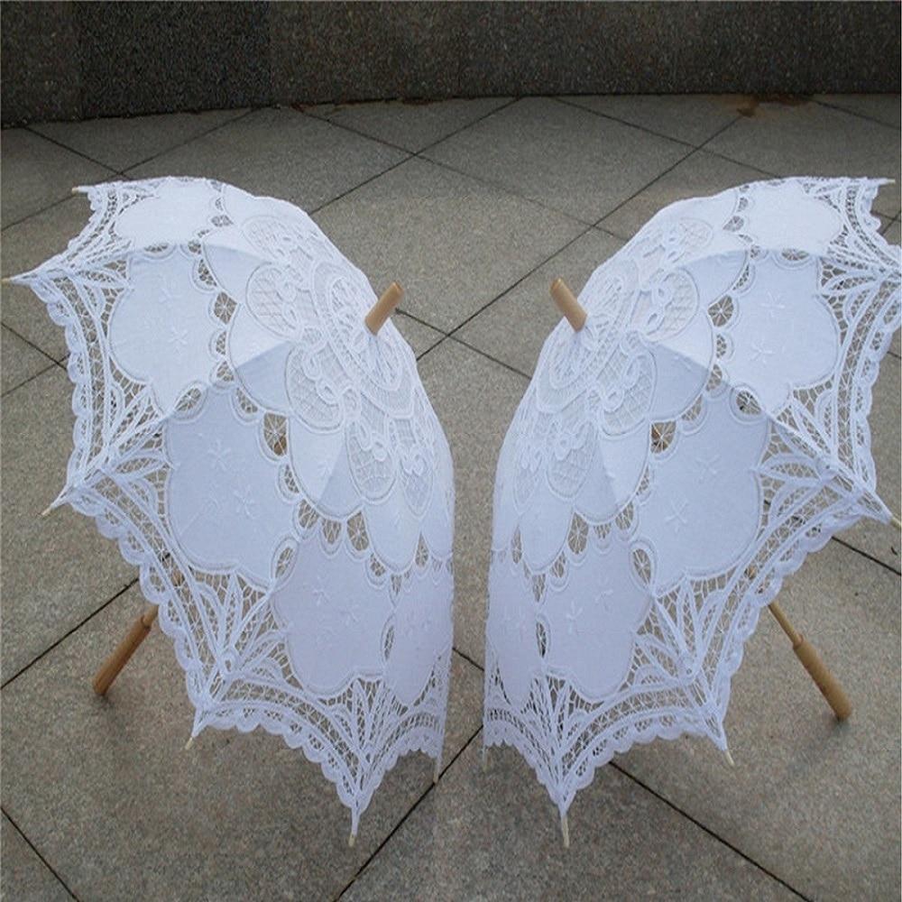 2018 Bridal Umbrella White Lace Parasol Handmade Summer Battenburg Lace Wedding Umbrella Wedding Decorations Wedding Accessories