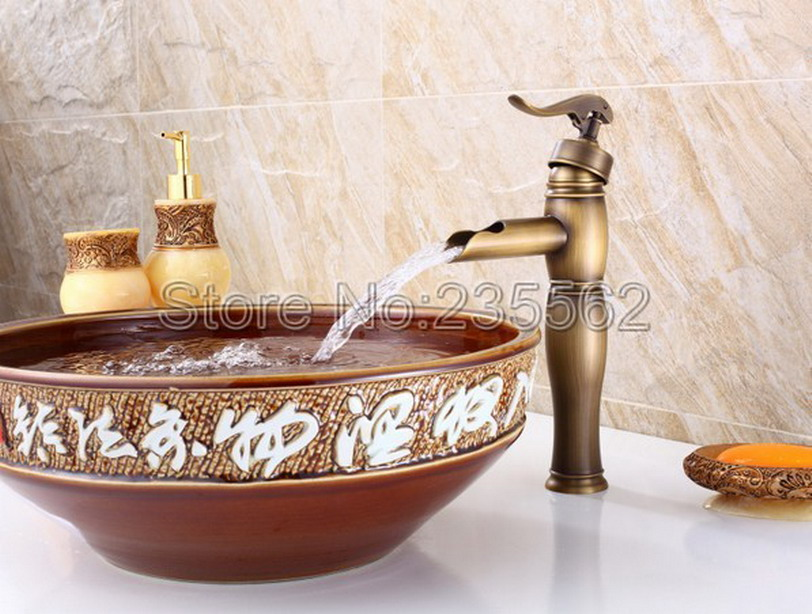 Retro Antique Brass Waterfall Pump Look Style Bathroom Basin Faucet Single Handle Vessel Sink Mixer Taps lnf002Retro Antique Brass Waterfall Pump Look Style Bathroom Basin Faucet Single Handle Vessel Sink Mixer Taps lnf002