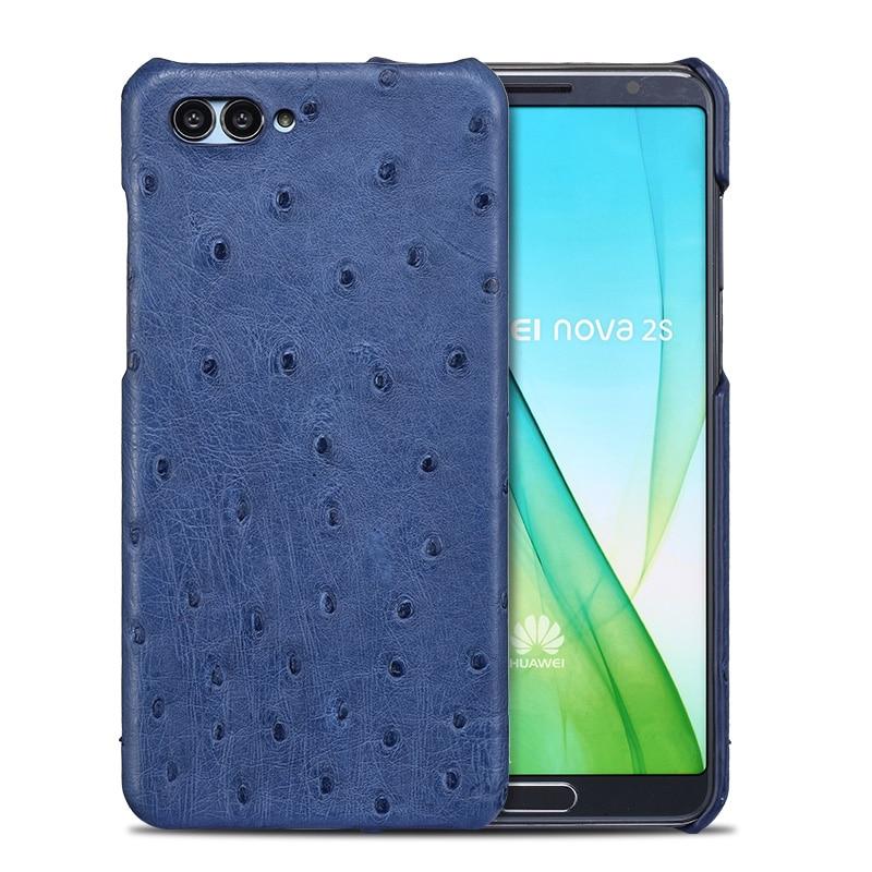 Nouveau demi paquet étui de téléphone portable pour Huawei P20 lite véritable peau d'autruche coque de téléphone de luxe en cuir véritable coque de téléphone - 2