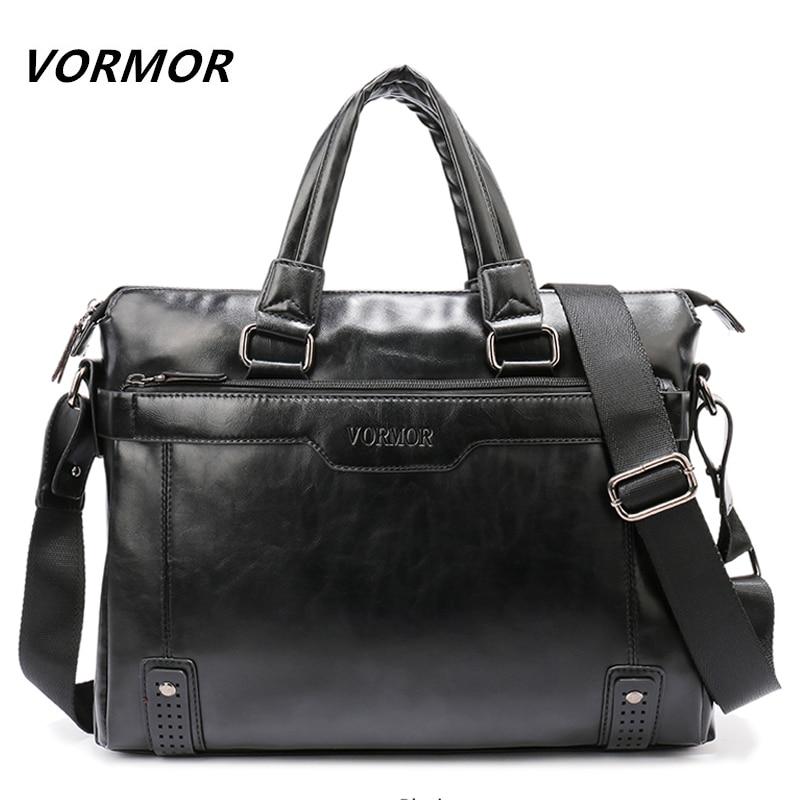 VORMOR Brand Elegance Business Men Briefcase Bag,  PU Leather 14 Inch Laptop Men Bag, Casual Man Shoulder Bags Maleta