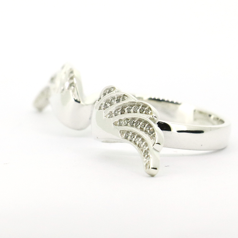 Solid 925Sterling Silver CZ Angel wings ring silver wings silver wings 010022v1 5 186