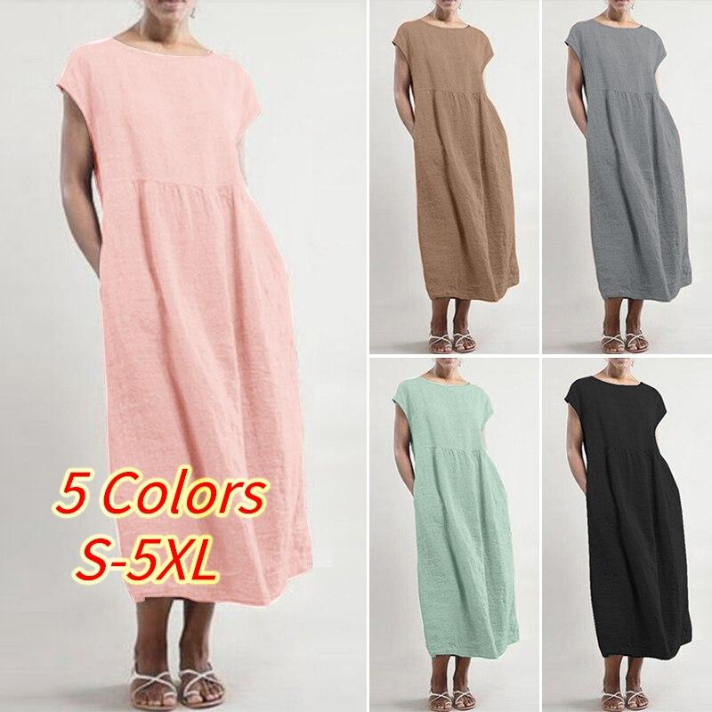 22cc14fc4 2019 Plus Size ZANZEA Summer Women Casual Solid Short Sleeve Cotton Linen  Party Loose Thin Long