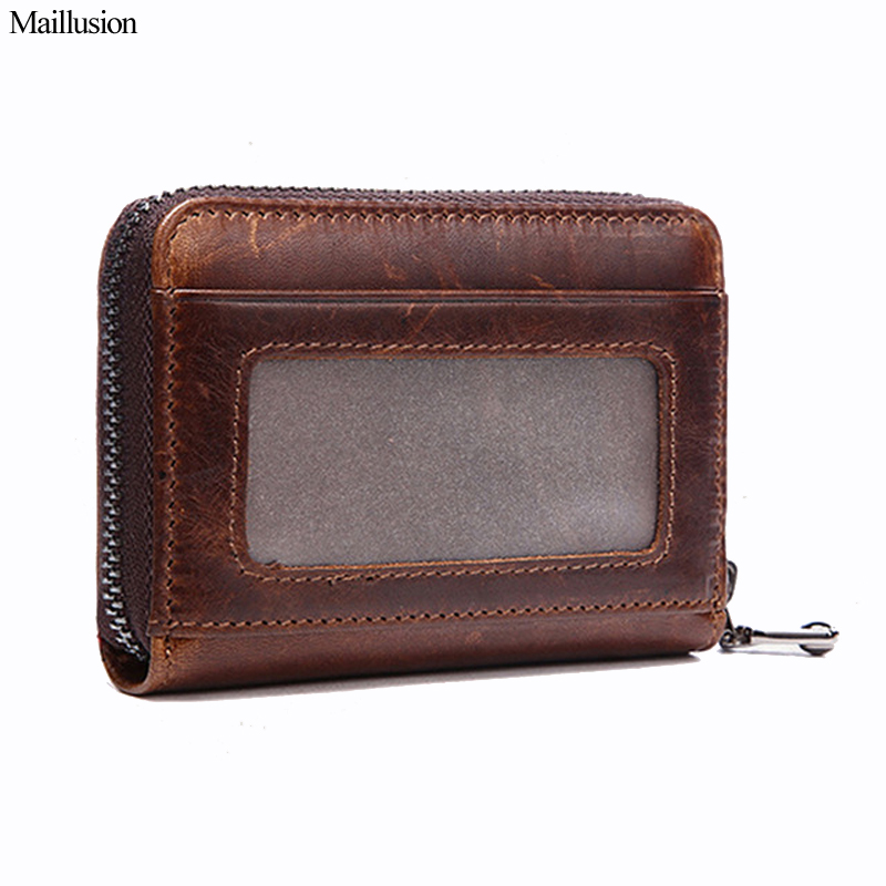 Maillusion Men Genuine Leather Unisex Card Holder Wallet Oil Wax Leather Female Credit Card Bags Women Pillow Zipper Coin Purse maillusion vintage rfid wallet case genuine leather unisex business card holder wallet hasp men and women bank credit card purse