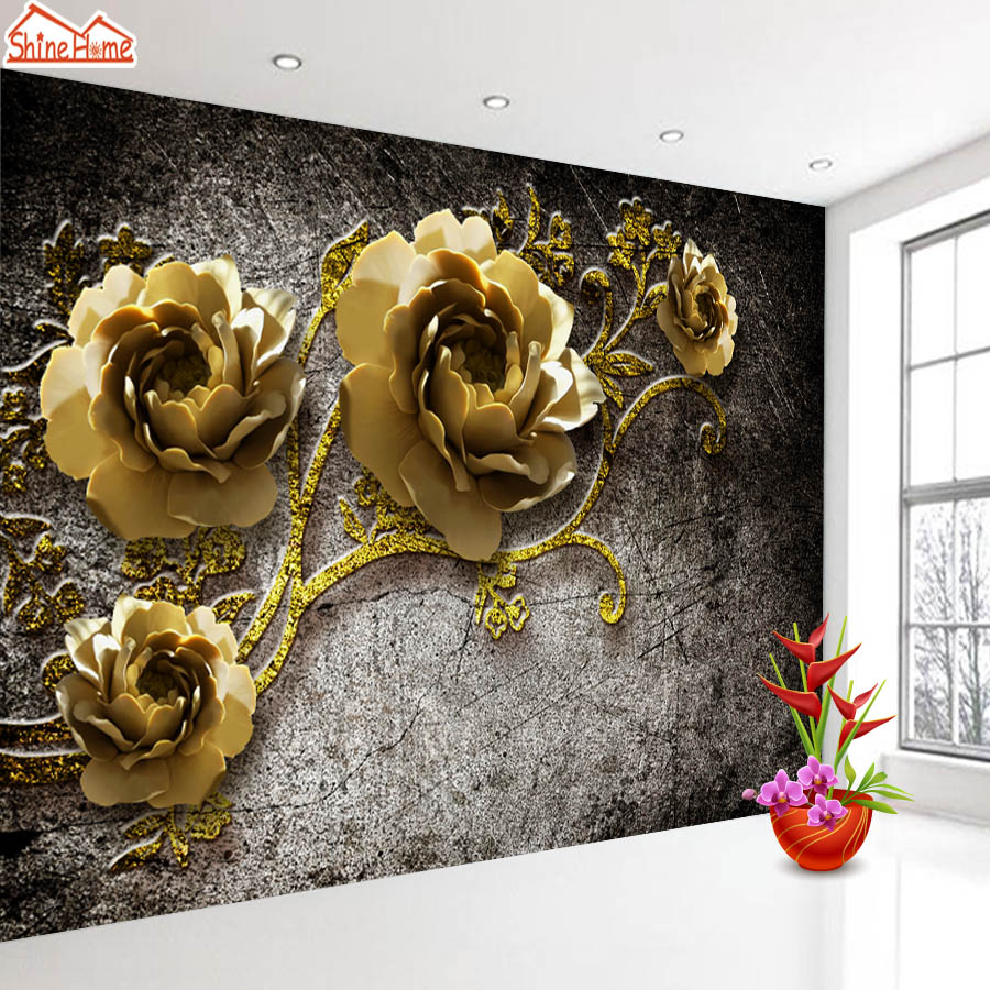 ShineHome-Photo Custom Wallpapers Embossed Peony Mural Rolls for Walls 3 d Living Room Nature Flower 3d Wall Paper Home Art shinehome graffiti embossed brick wallpaper roll for walls 3d cafe mural wallpapers for 3 d wall living room mural wall paper
