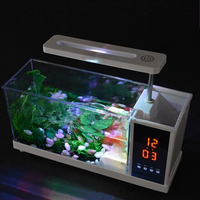 USB Desktop Mini Fish Tank Aquarium USB Aquarium LED Lamp Light LCD Display Screen Clock Fish Tank Aquarium Fish Tanks White