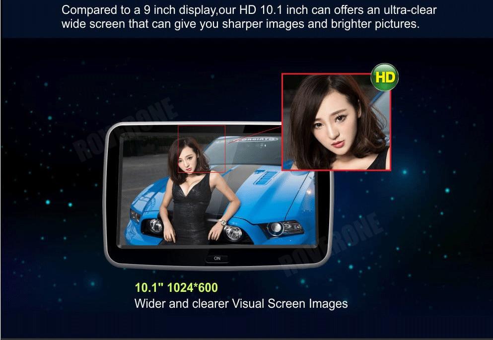 2 pièces X 10.1 ''Android voiture appuie-tête moniteur lecteur multimédia avec écran tactile capacitif HD/Quad Core/Wifi/haut-parleur/Bluetooth