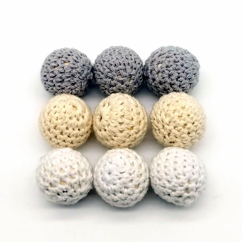 LKCFLBMAFM High end DIY Jewelry Accessories Log Handmade Crochet Wool Ball Wood Bead Diameter 2CM 100PCs Jewelry Matching Parts