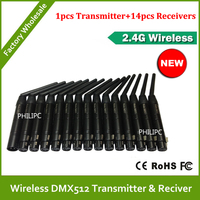 1 Set 1pcs Wireless DMX Transmitter 14pcs DMX512 Receiver Dmx Controller 500M Male And Female 2