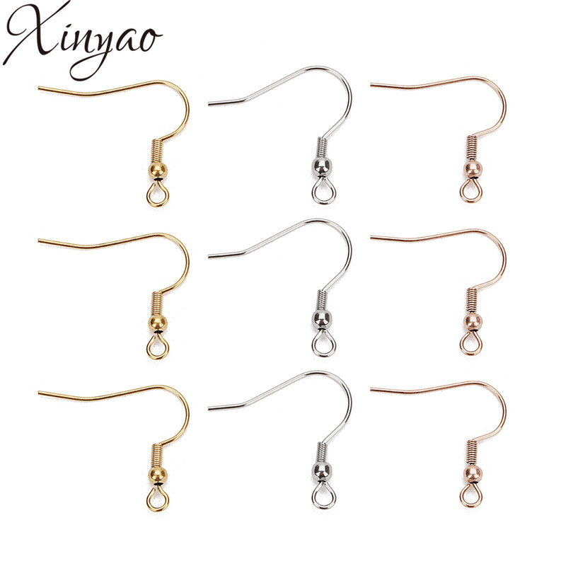 XINYAO 20pcs Fashion Stainless Steel Ear Hook Wire Clasp With Bead Charms Earring Hooks Wires Fit DIY Jewelry Making Findings