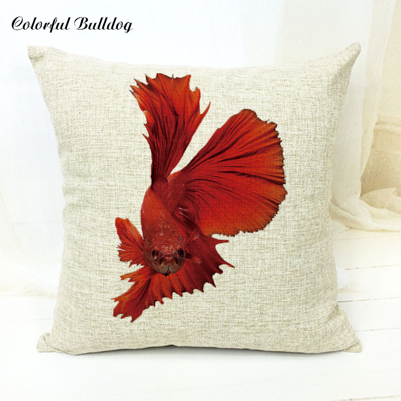 Stylish Ocean Navy Blue Watercolor Fish Starfish Cushion Cover Decor Sofa Cute Office 17X17 Without Inner Houseware Cushion Cove