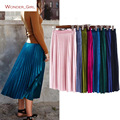 Hot Sale !!2017 New Arrival Spring Women's Clothes Brief Solid Velvet Fashion High Waist Sexy Colorful Pleated Long Skirt