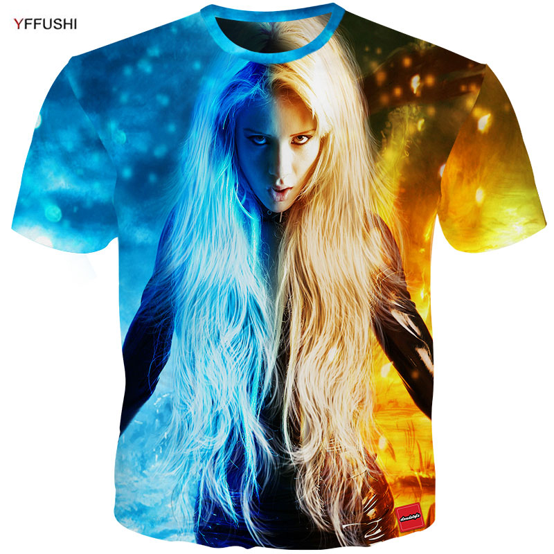 YFFUSHI Male <font><b>3D</b></font> <font><b>T</b></font> <font><b>shirt</b></font> Fashion Fire and Ice Print Male /Female <font><b>T</b></font> <font><b>shirt</b></font> <font><b>Sexy</b></font> Girl Print Summer Cool Top Tee Plus Size 5XL image