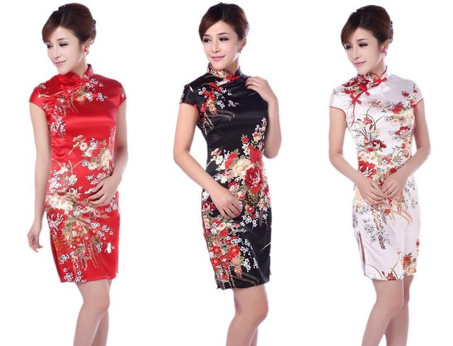 Sexy Traditional Chinese Dress Women Short Sleeve Flowers Chinese