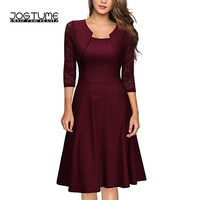 JOGTUME 3 Colors 2017 Fashion Wine Red Women Work Dress with Lace Sleeve,High Quality Elegant Black Dark Blue Lady A line Dress