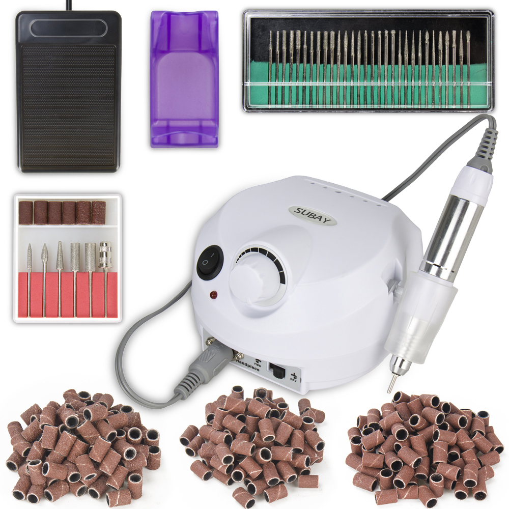 White Nail Tools Electric Nail Drill Machine 30000RPM Nail Art Equipment Manicure Kit Nail File Drill Bit Sanding Band Accessory apparatus for manicure nail art drill machine for manicure kit drill file bit sanding accessory 9 heads pedicure machine