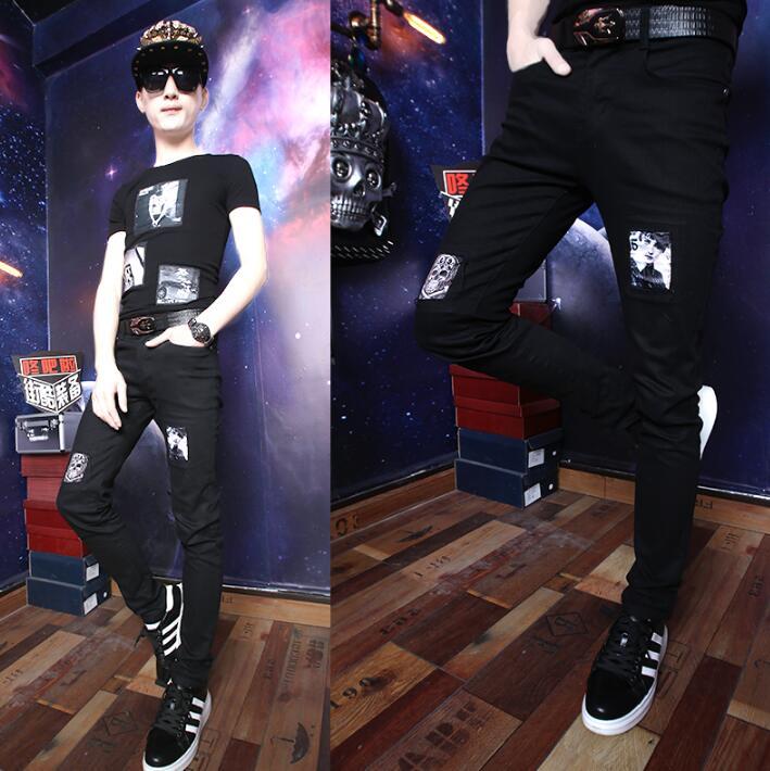 Улица Личность Модные шаровары мужские Рваные Брюки Хомбре Брюки-Карго Облегающие штаны для мужчин мужские панталоны белый черный