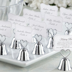 Free shipping 50pcs lot Christmas party favor Kissing Bell Place Card Holders in silver or golden