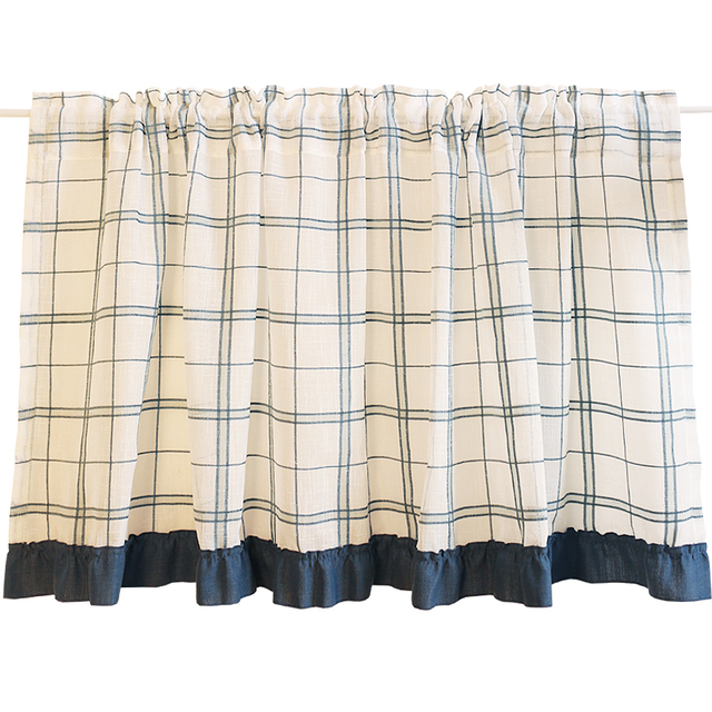 Half Curtain Fashion Crochet Short Curtain Linen Gauze Plaid Pattern