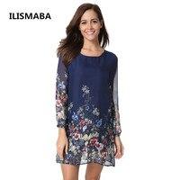 ILISMABA Fall The New Ms Fashion Harajuku Chiffon Long Sleeve Dresses Printing Floral Pattern High Quality