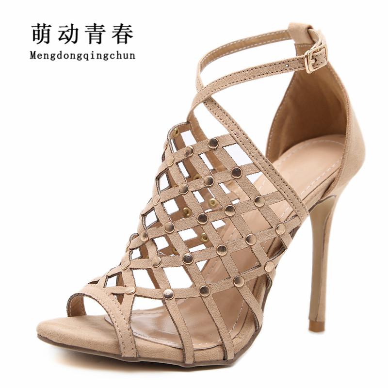 2018 Women Sandals Gladiator Women High Heels Sandals Buckle Strap Thin Heels Shoes Fashion Rivet Women Sandalias Mesh Buckle women shoes for summer open toe mesh laser gladiator sandal boots buckle strap thin high heels sandalias mujer ladies shoes