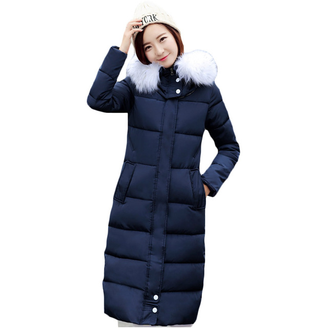 f1d38fa174e Plus Size Thicken Warm Parka Cotton Padded Outwear Women s 2017 Autumn  Winter Midi Length Puffer Jacket Coat With Fur Hood XH662