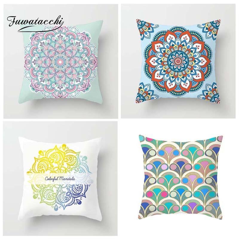 Fuwatacchi Mandala Printed Cushion Cover Circle Floral Pillow Cover For Car Home Chair Sofa Decoration White Pillowcases