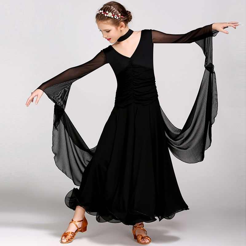 Детское современное танцевальное платье с длинными рукавами Стандартный Танцевальный Костюм Подростковый бальный костюм Вальс Танго B-6132