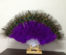 Dance Performance Classic Christmas Halloween Decoration Costume Props Wholesale Purple Beautiful Natural Peacock Feather Fan