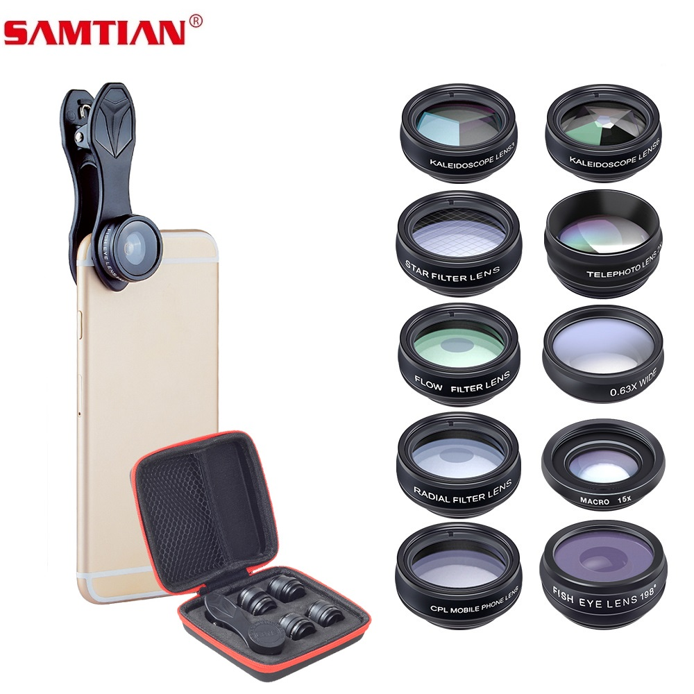 SAMTIAN Lens camera Phone Lens Fisheye Wide Angle macro Lens CPL Filter Kaleidoscope 2X Telescope Lens 10 in 1 set For all phone title=