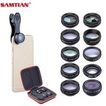 """SAMTIAN obiektyw telefonu komórkowego akcesoria 10 zestaw z """"rybie oko"""" szerokie kąt makro filtr CPL kalejdoskop 2X soczewki teleskopu do telefonu"""