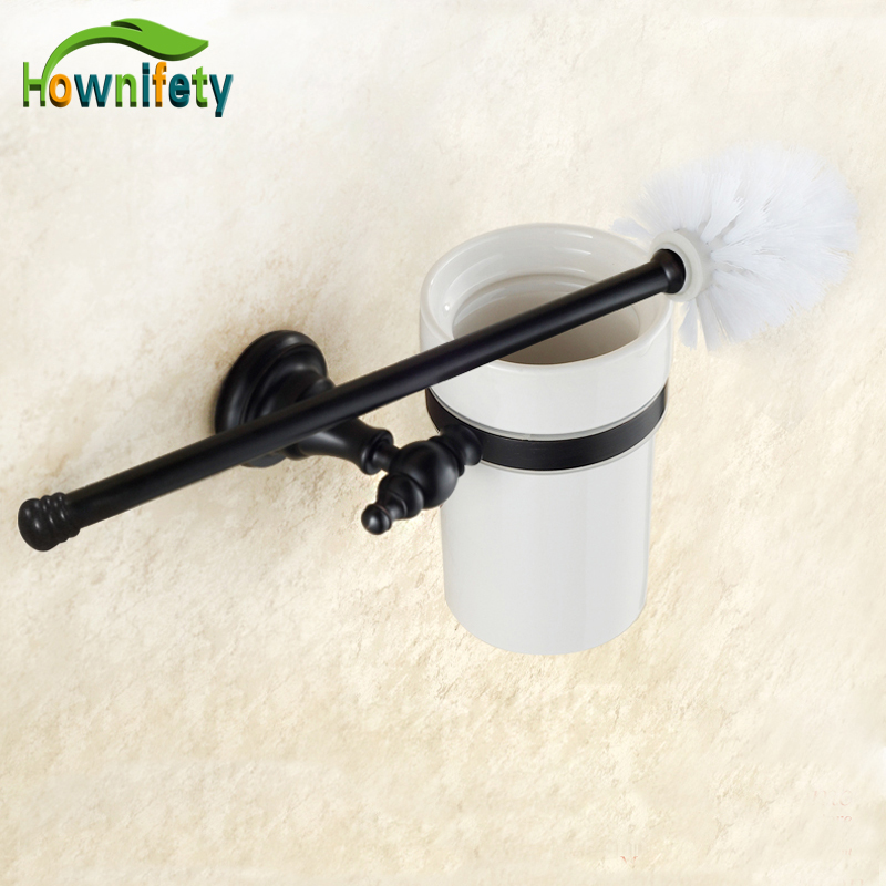 Oil Rubbed Bronze Bathroom Toilet Brush Holder + Brush + Ceramic Cup Wall Mount newly design oil rubbed broze tooth brush holder 2 ceramic cups wall mounted