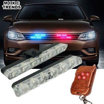 Sem fio Controle Remoto 2x6 Carro LEVOU Strobe Barra de Luz de Advertência Da Polícia 12 V Trabalho LED DRL Luzes de Nevoeiro Para O Carro de Emergência Grade Net