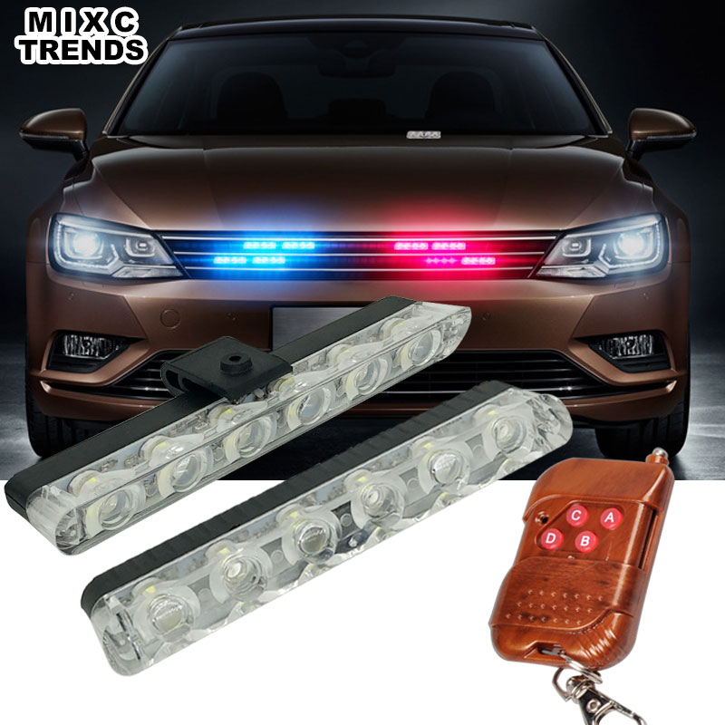 Wireless Remote Controller 2x6 LED Car Strobe Warning Police Light Bar 12V Emergency LED Work DRL Fog Lights For Car Net Grill 4in1 daytime running light 12v 12w led car emergency strobe lights drl wireless remote control kit car accessories universal