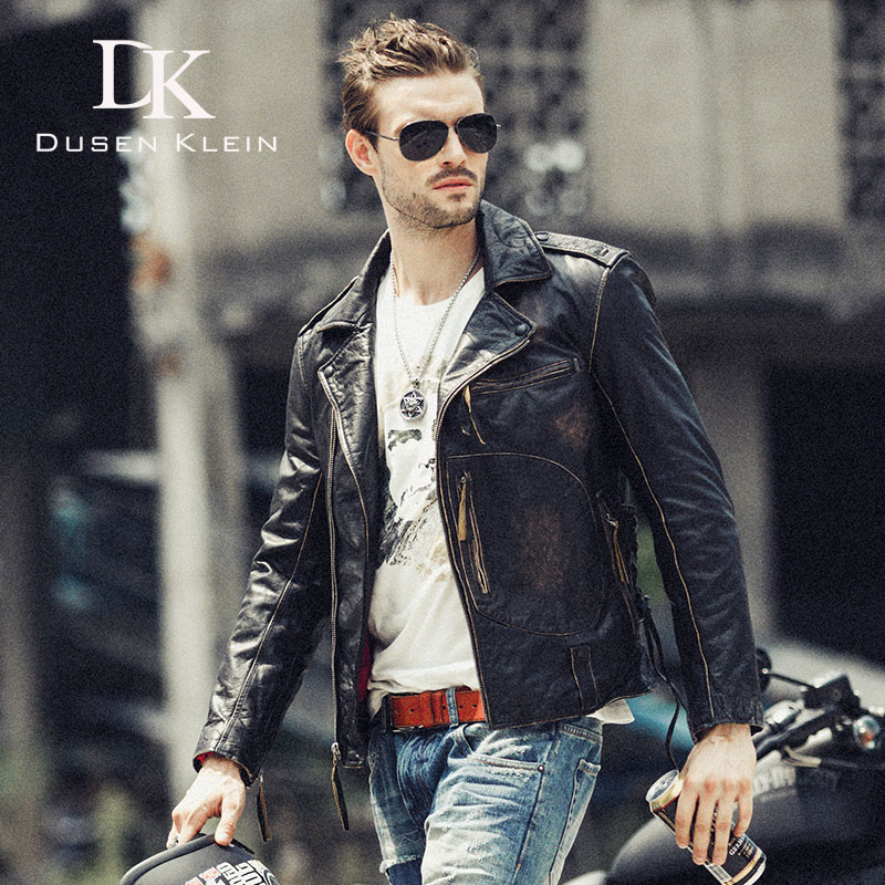 Calf leather Jacket for male Motorcycle Casual leather coats Dusen Klein Design Spring Outerwear leather Jacket Black 71U039