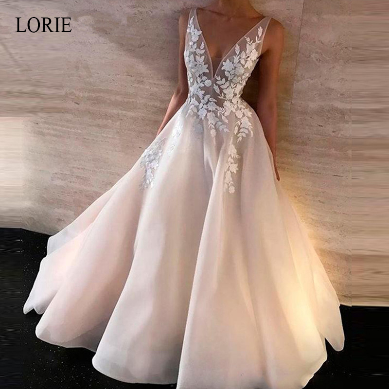LORIE A-Line   Evening     Dress   Appliques with Tulle Sleeveless V neck Wedding Party   Dress   Women&Girls robe soiree Open Back   Dress