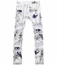 2017 Горячие Продажа Новые Arrval Человек Животное Печати Джинсы Мода Белый Джинсовые Брюки