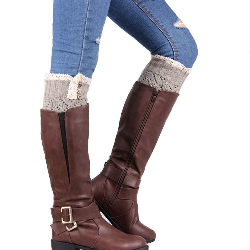 Free Ostrich 1 Pair 7 Colors Women Lady Girls Elastic Stretch Flower Lace Boot Cuffs Leg Warmers Trim Toppers Socks B2235