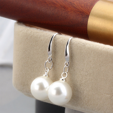 Women Gift word 925 Sterling silver Earring Korean temperament pure Tremella nail female 10-12MM Pearl Earrings long section