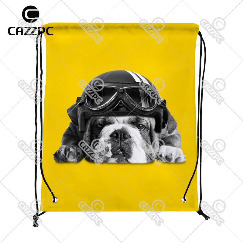 Black and white cute french Bulldog with Hat Yellow Print individual Nylon Fabric Drawstring Shoes Storage Dust Bag Pack of 4